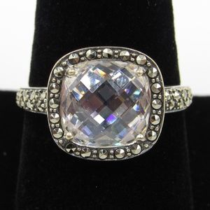 Vintage Size 9.25 Sterling Marcasite & Glass Ring